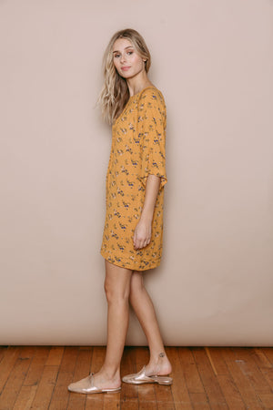 Carrie - Pleated Lace Trim Tunic Ochre Bouquet