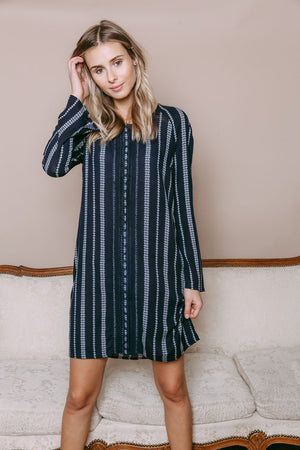 Ivy - Lace Trim Woven Dress Navy Geo