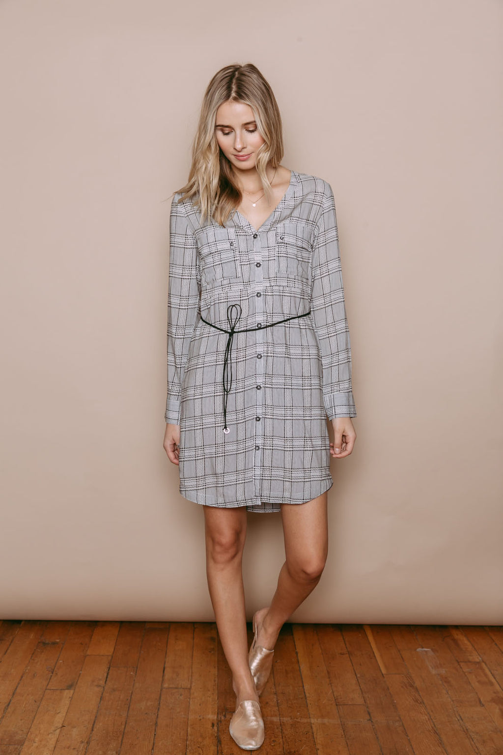 Sara - Shirtdress Black and White Check