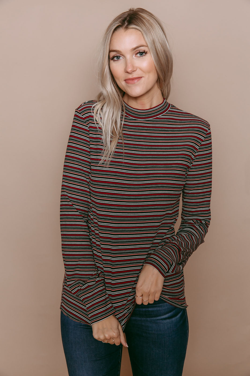 Carmen - Puff Sleeve Mock Neck Top Burg Stripe