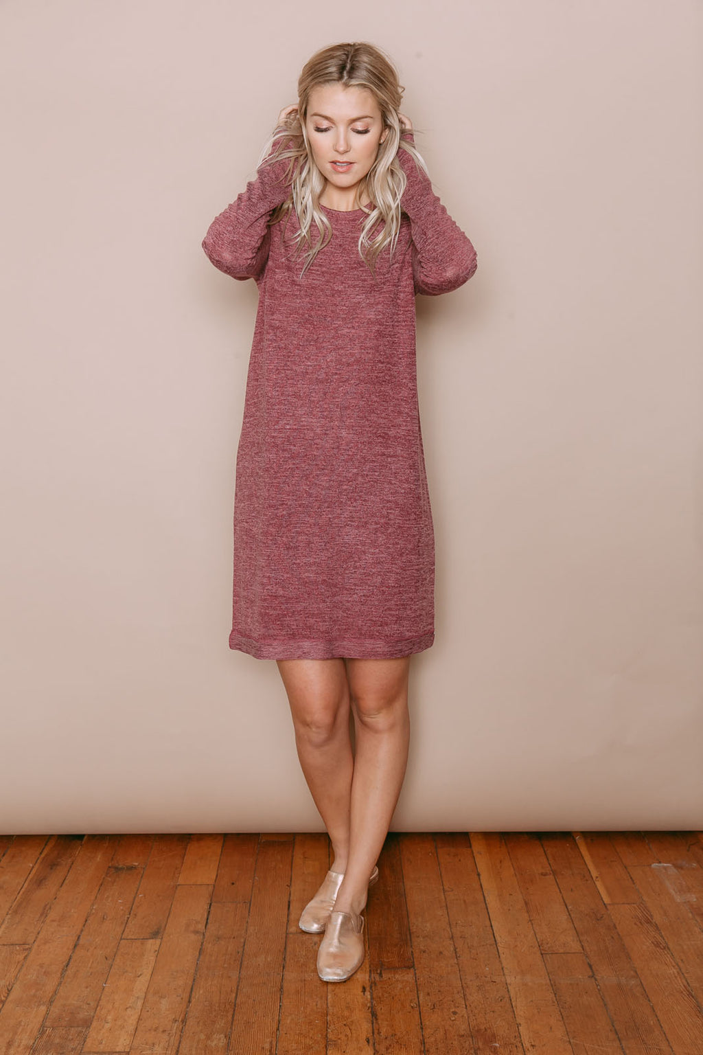Isla - Long Sleeve Tee Dress Wine Melange