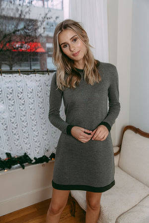 Isabelle - Reversible Winter Weight Luxe Crew Neck Dress Black Heather