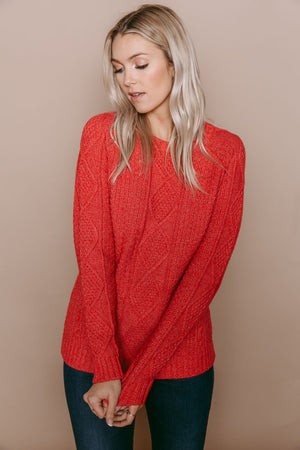 Arianna - Cable Knit Pullover Vintage Red