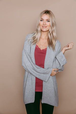Dawn - Kimono Cardigan White Grey Heather