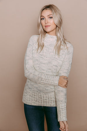 Ava - Cozy Mock Neck Sweater Cream Mix