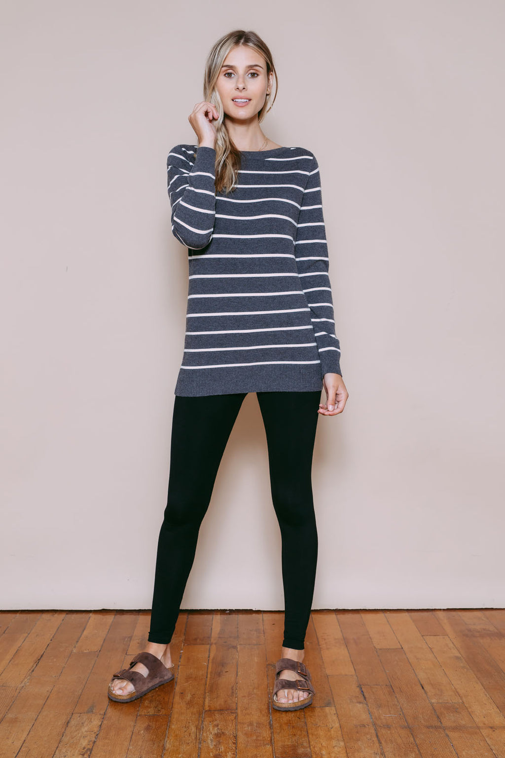 Iris - Split Neck Pullover Grey/Cream Stripe