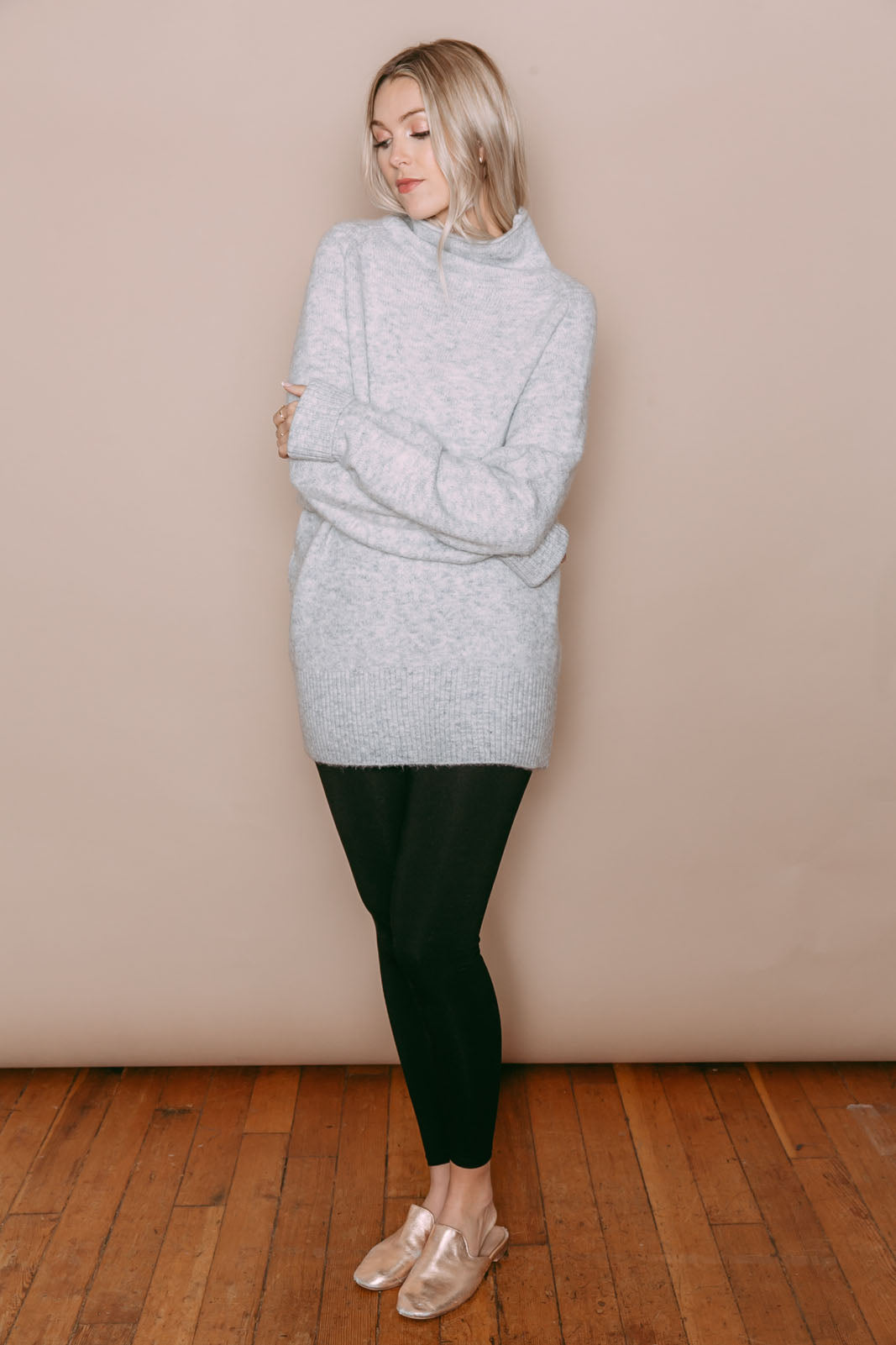 Athena - Funnel Neck Sweater Tunic Light Grey