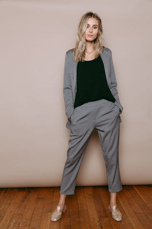 Sasha - Pull on Pant Salt & Pepper Herringbone