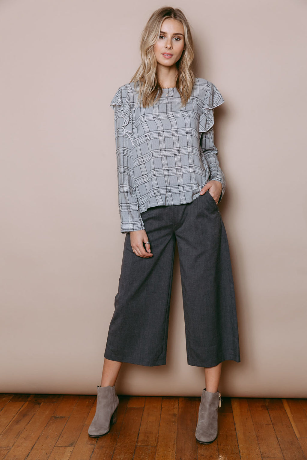Kira - Culotte Grey Brushed Plaid