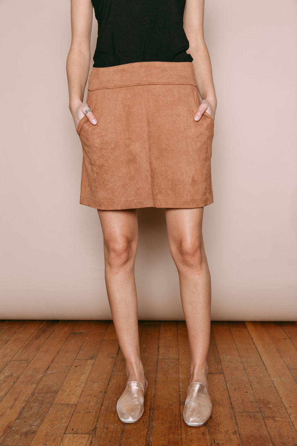 Parker - A-line Mini Skirt Camel