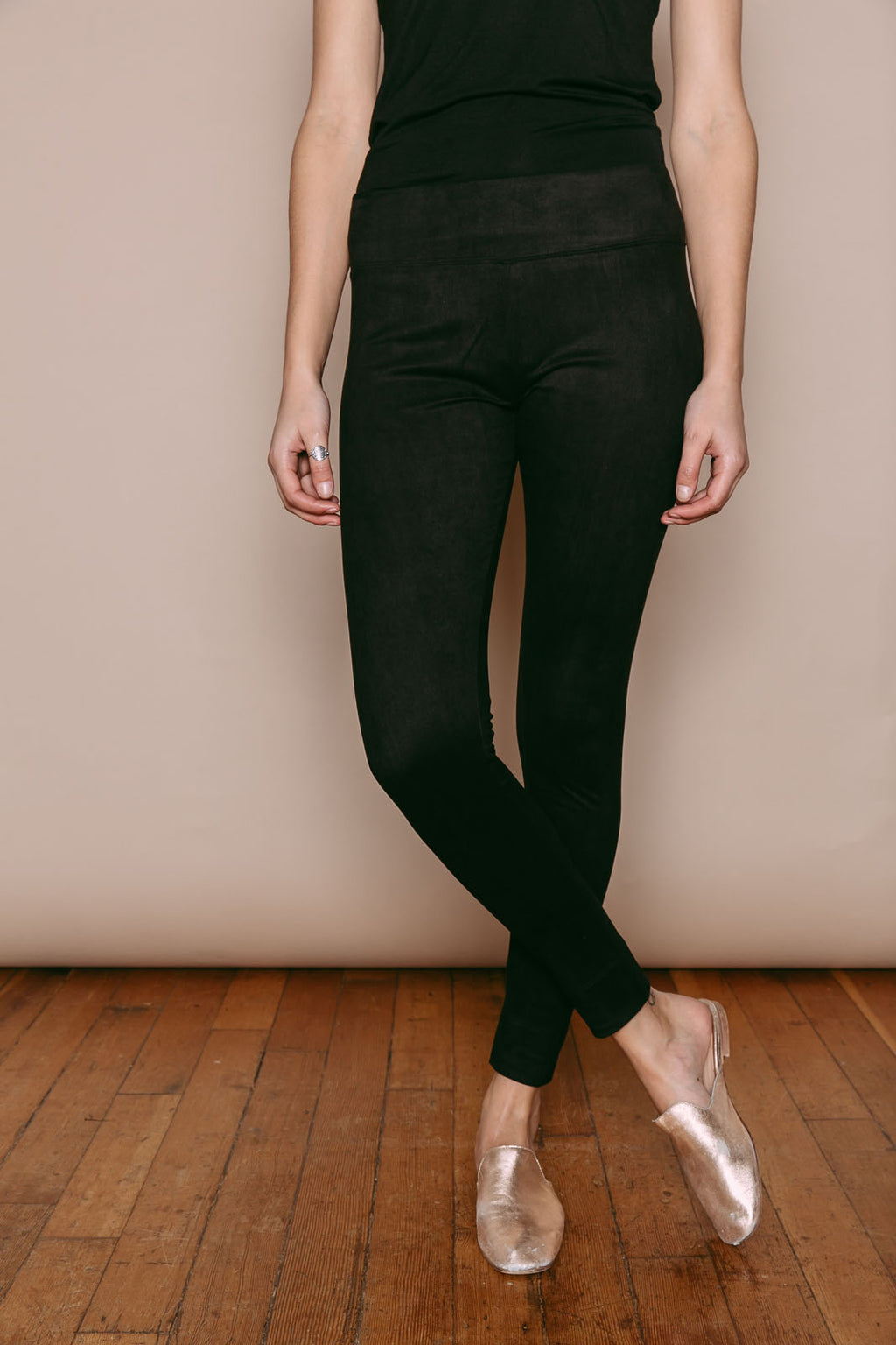 Emily - Vegan Suede Leggings Black