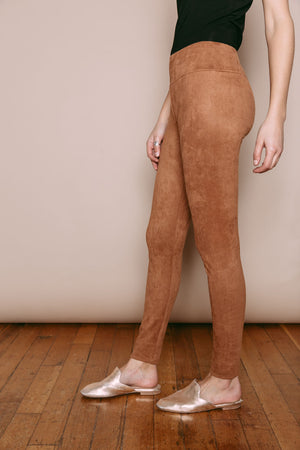 Emily - Vegan Suede Leggings Camel