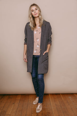 Avery - Classic Coat Grey Blush Plaid