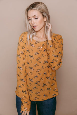 Laurie - Long Sleeve Woven Blouse Ochre Bouquet