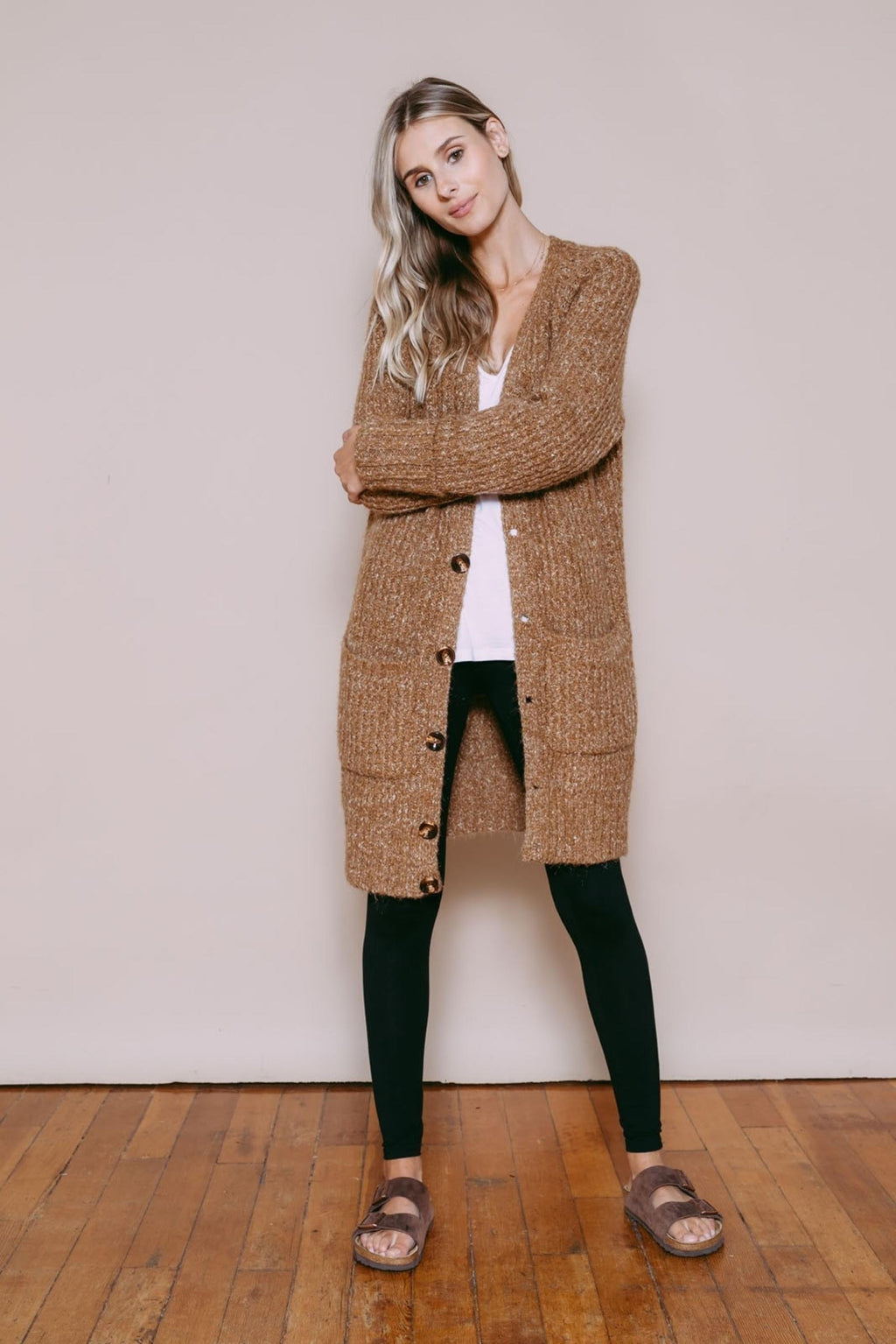 Jessica - Oversize Sweater Jacket Camel Mix