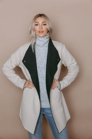 Sophia - Reversible Wrap Jacket Charcoal/Oatmeal