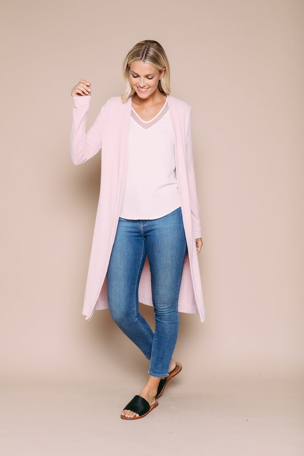 Abigail - Luxe Jersey Summer Duster Soft Pink