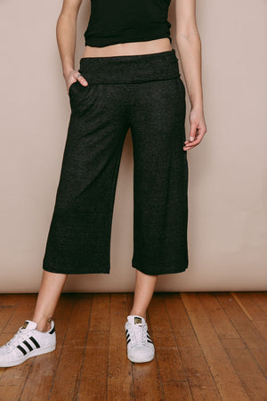 Jenna - Supersoft Knit Foldover Waist Pant Black