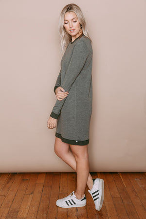 Isabelle - Reversible Crew Neck Dress Olive Heather