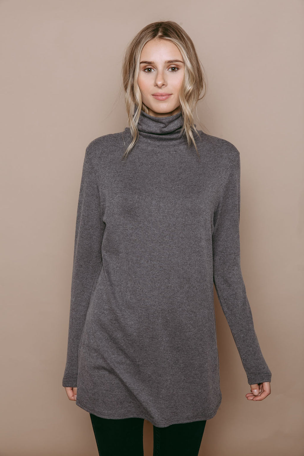 Stephie - Reversible Brushed Jersey Turtleneck Tunic Grey