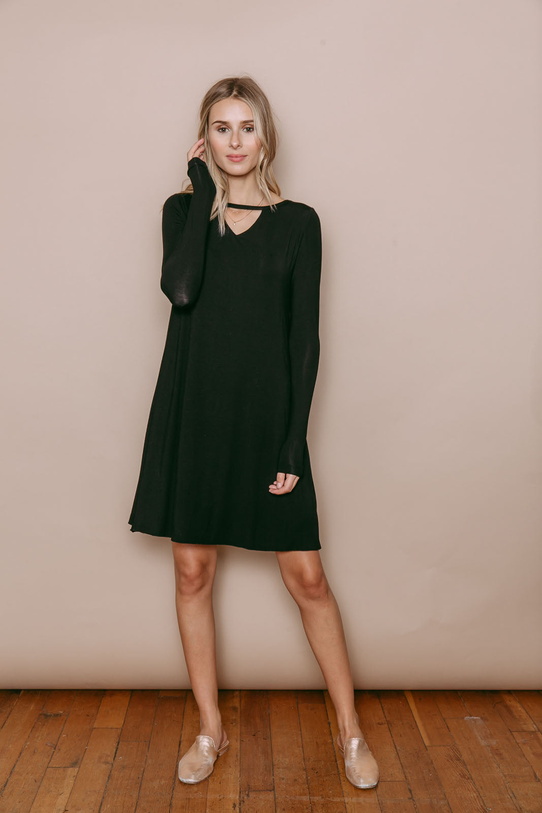 Janey - Reversible Long Sleeve Dress With Neck Detail Black