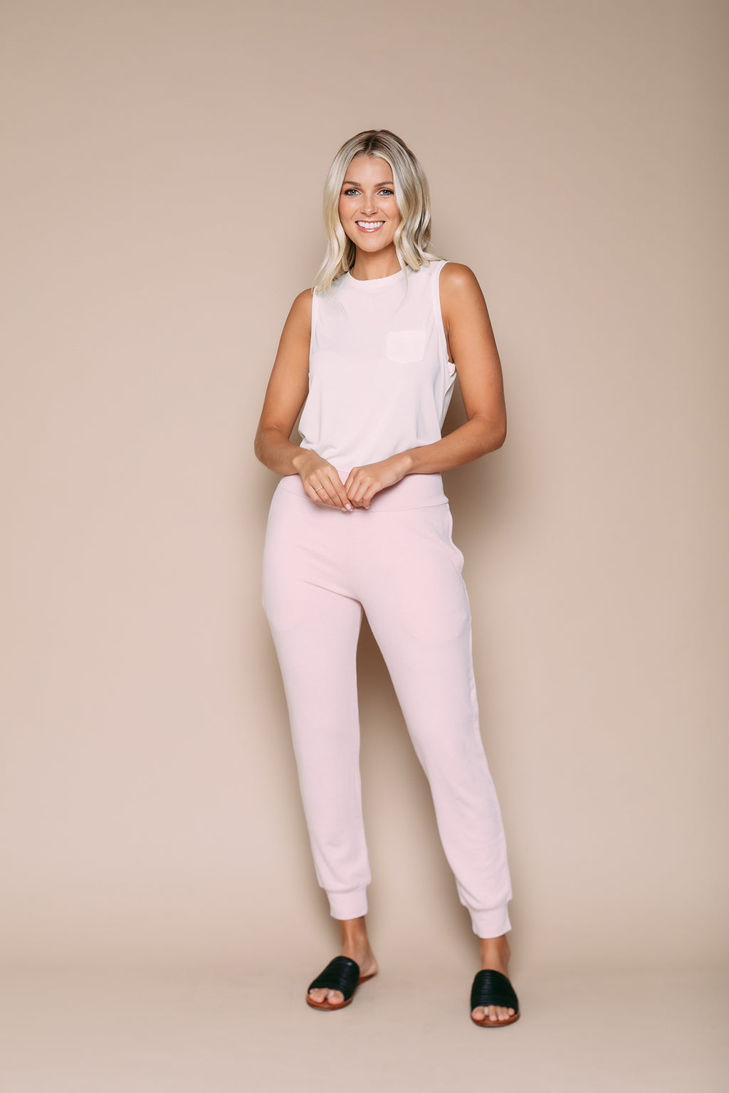 Darcy - Luxe Jersey Cuffed Pull on Pant Soft Pink