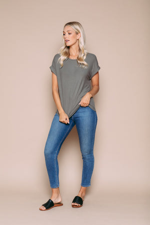 Davies - Cuffed Dolman Tee Light Olive