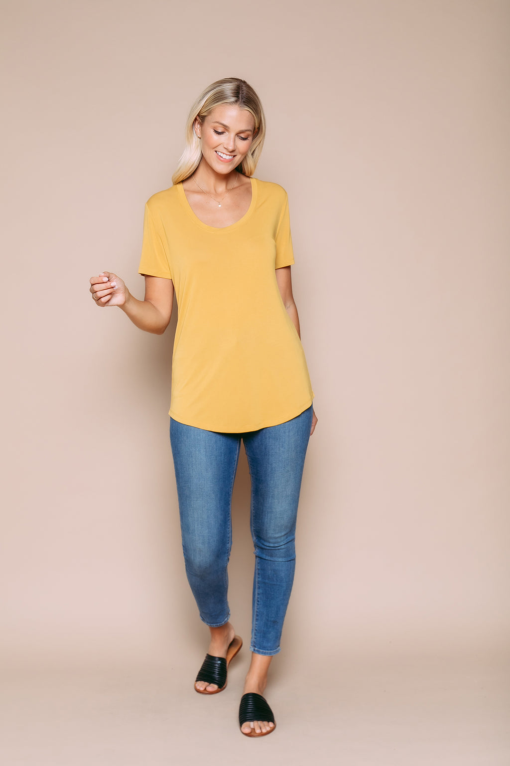Gemma - Drapy Jersey Scoop Neck Tee With Curved Hem Bamboo