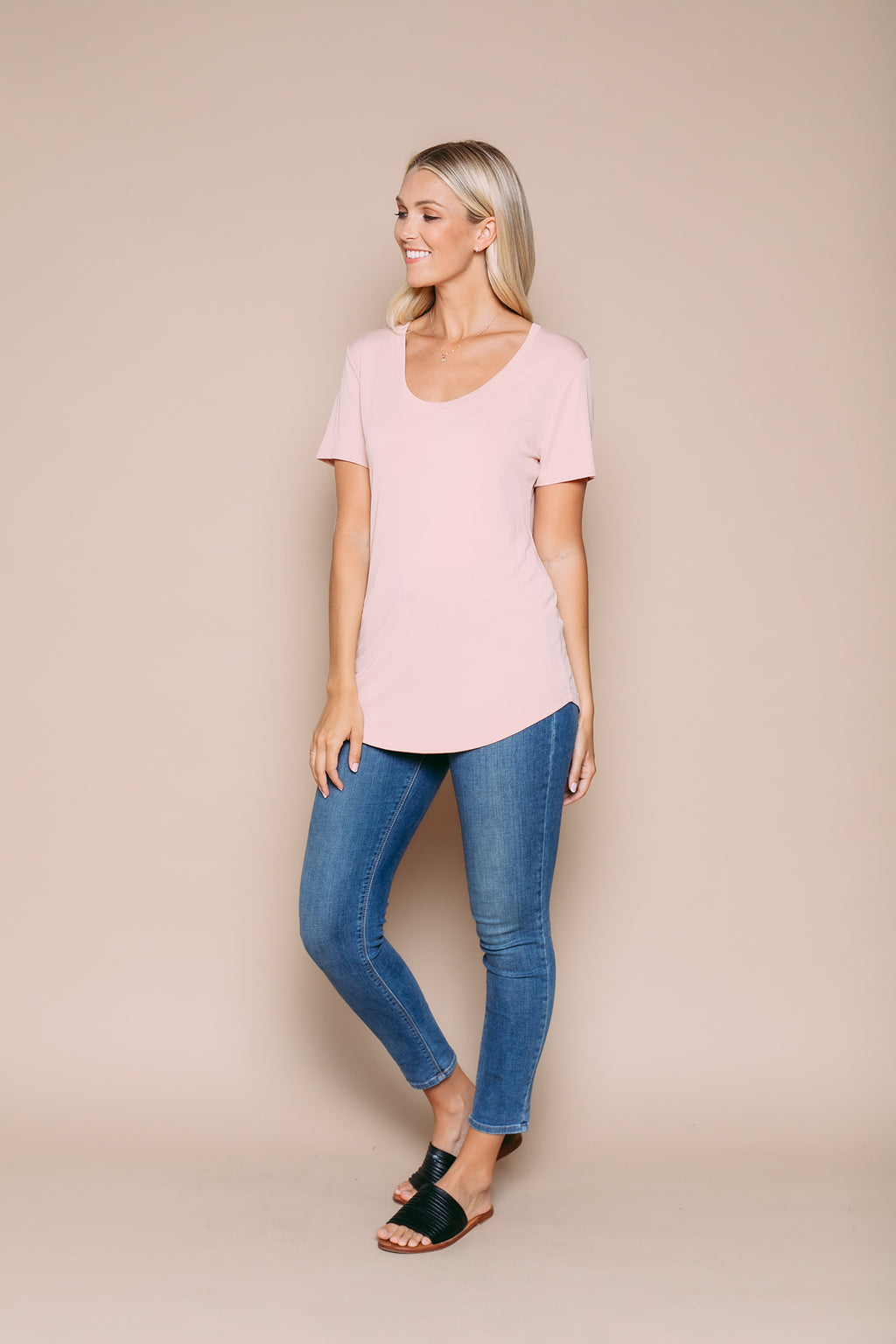 Gemma - Drapy Jersey Scoop Neck Tee With Curved Hem Blossom