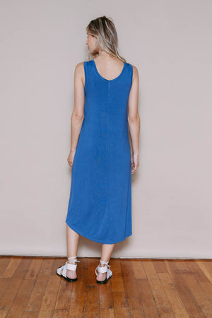 Bella - Reversible Midi Length Tank Dress Indigo