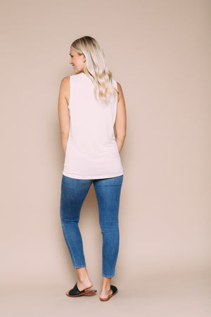 Jade - Drapy Jersey Crew Neck Pocket Tank White