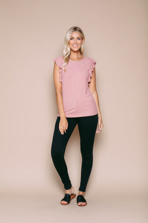 Jordan - Ruffle Sleeve Tank Light Pink