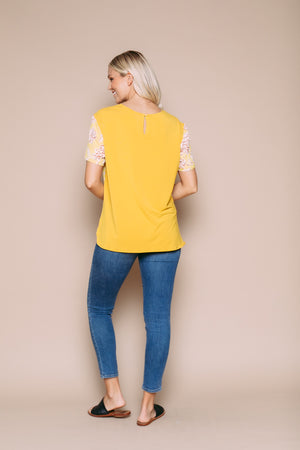 Josette - Mixed Media Crew Neck Tee Floral/Goldenrod