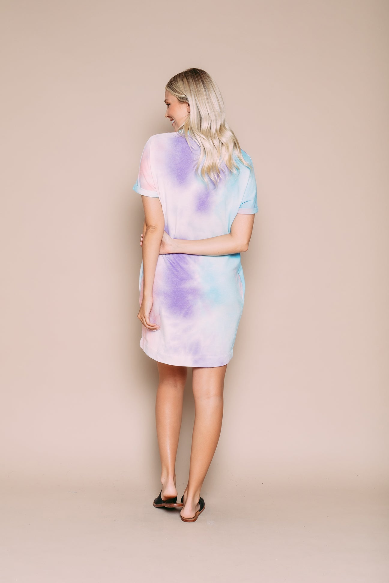 Laney - Supersoft Rolled Cuff Dress Cotton Candy Tie Dye