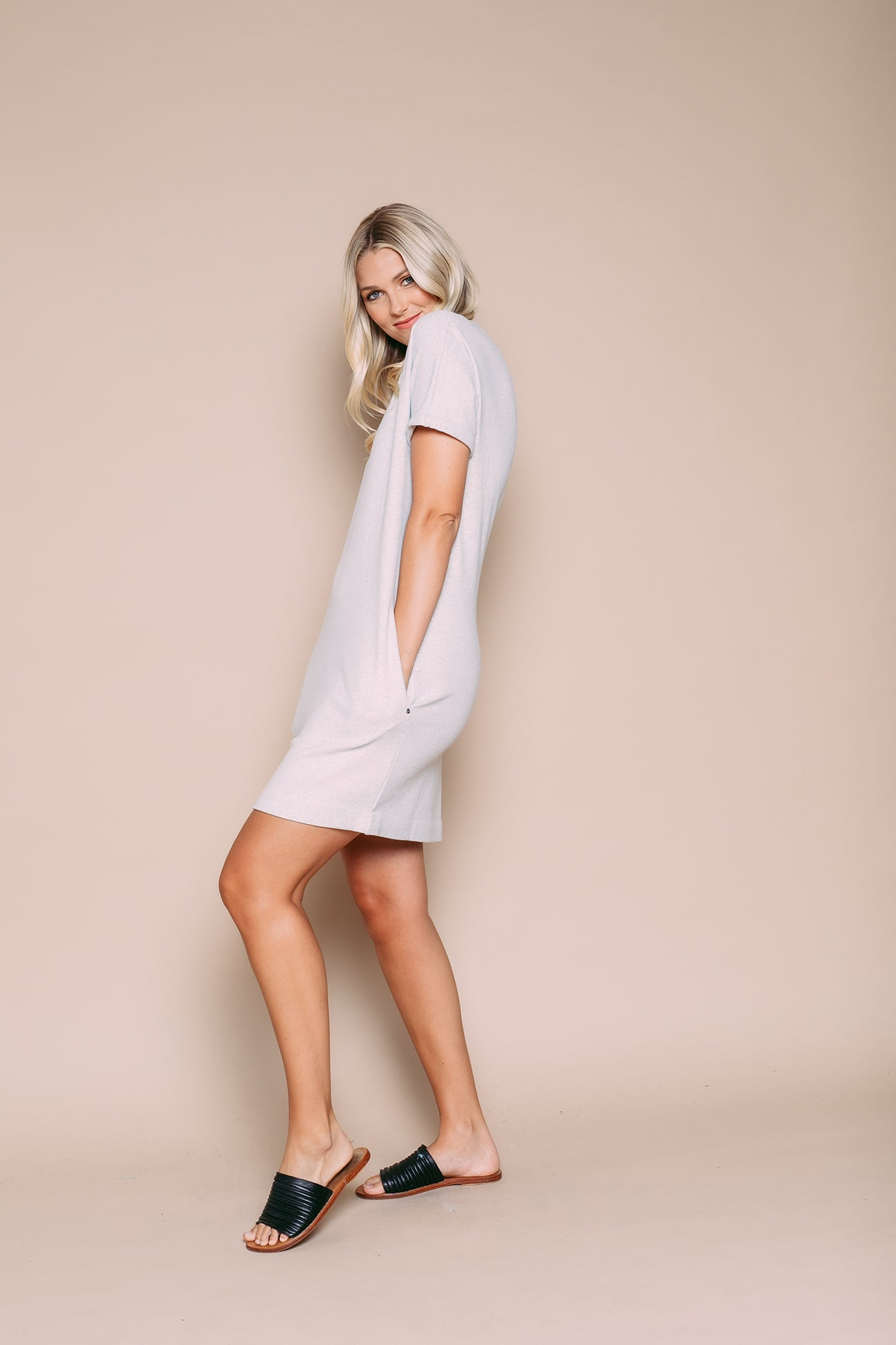 Laney - Supersoft Rolled Cuff Dress Heathered Grey