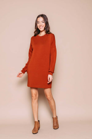 Kim - Sweatshirt Dress With Sleeve Detail Deep Caramel