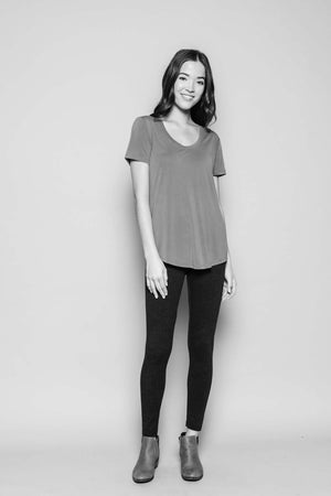 Gemma - Drapy Jersey Scoop Neck Tee Black