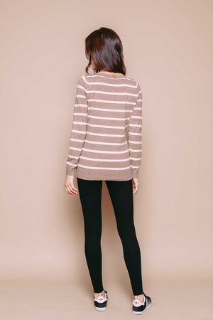 Iris - Split Neck Pullover Latte Stripe