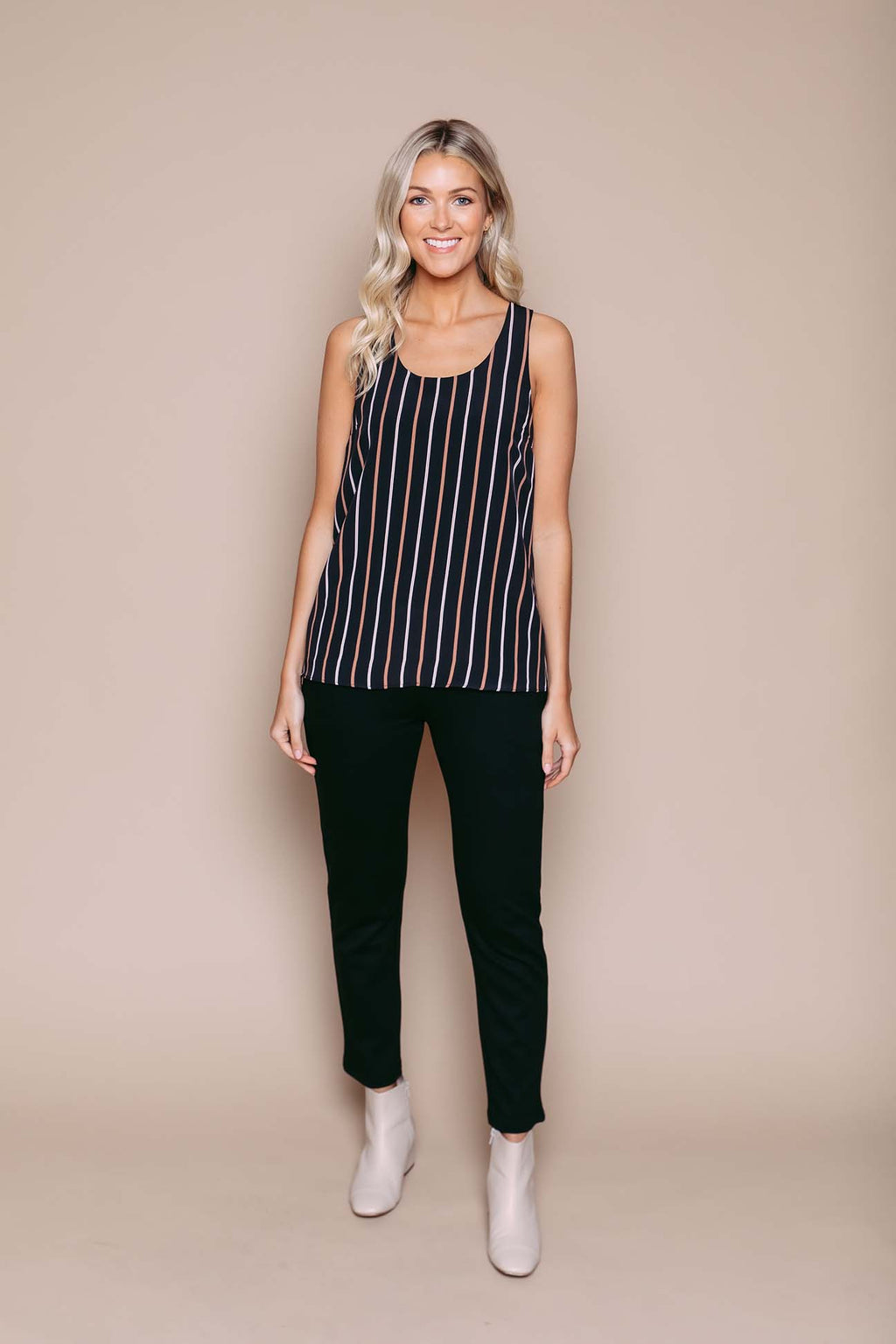 Maddie - Zip Back Cami Winter Stripe