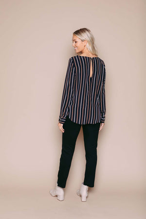 Laurie - Long Sleeve Woven Blouse Winter Stripe