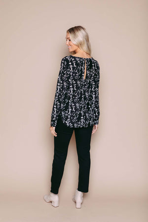 Laurie - Long Sleeve Woven Blouse Black Vines