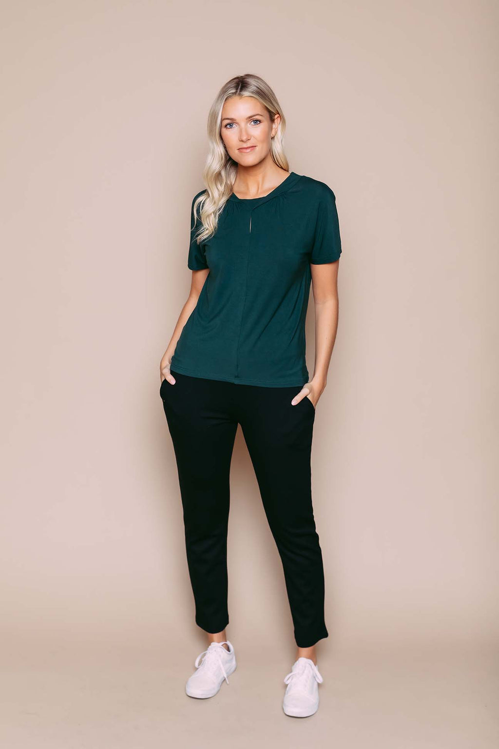 Gigi - Reversible Twist Detail Dolman Tee Deepest Green