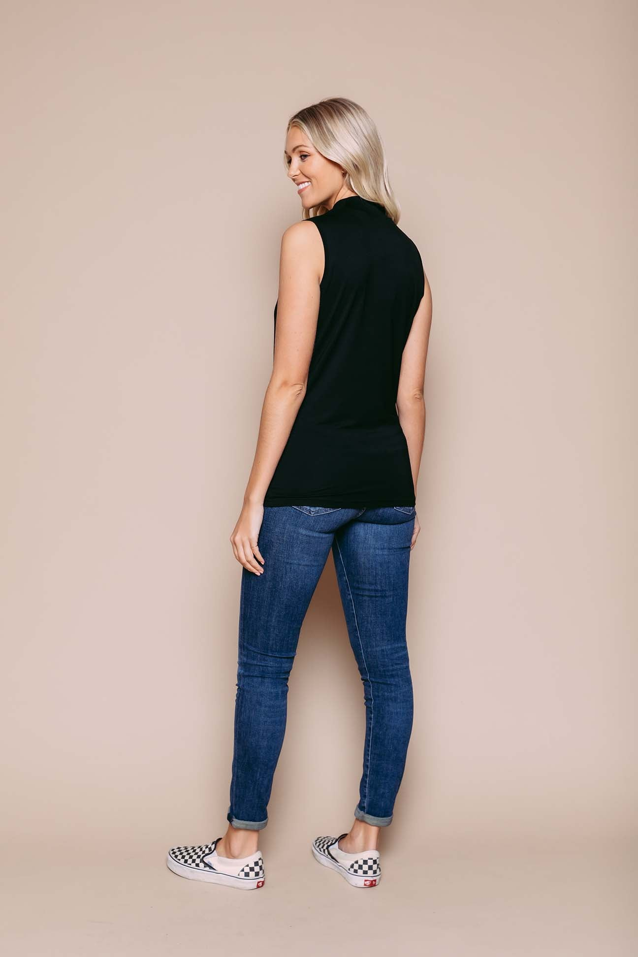Jody - Mock Neck Tank Black