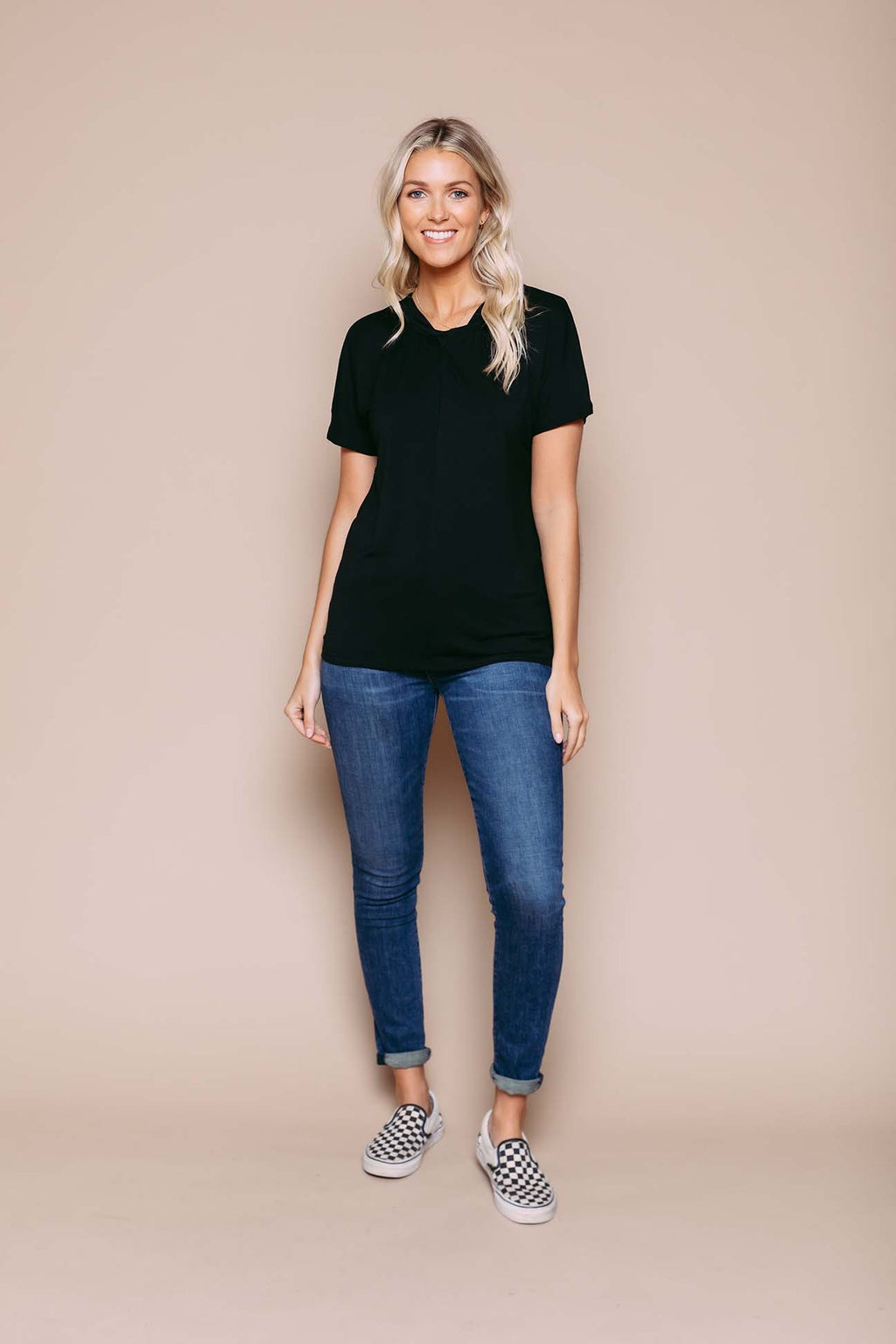 Gigi - Reversible Twist Detail Dolman Tee Black
