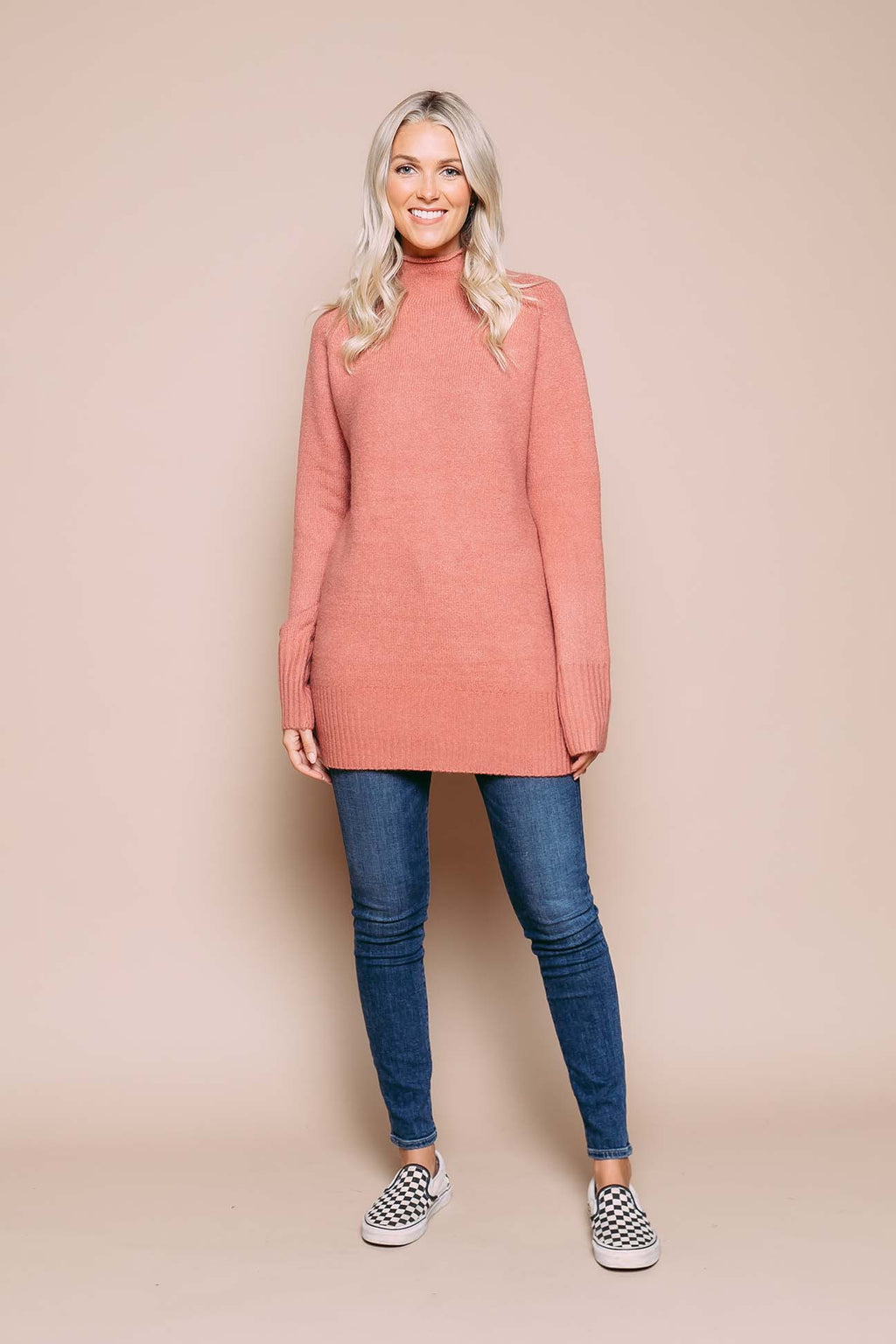 Athena - Funnel Neck Sweater Terra Cotta