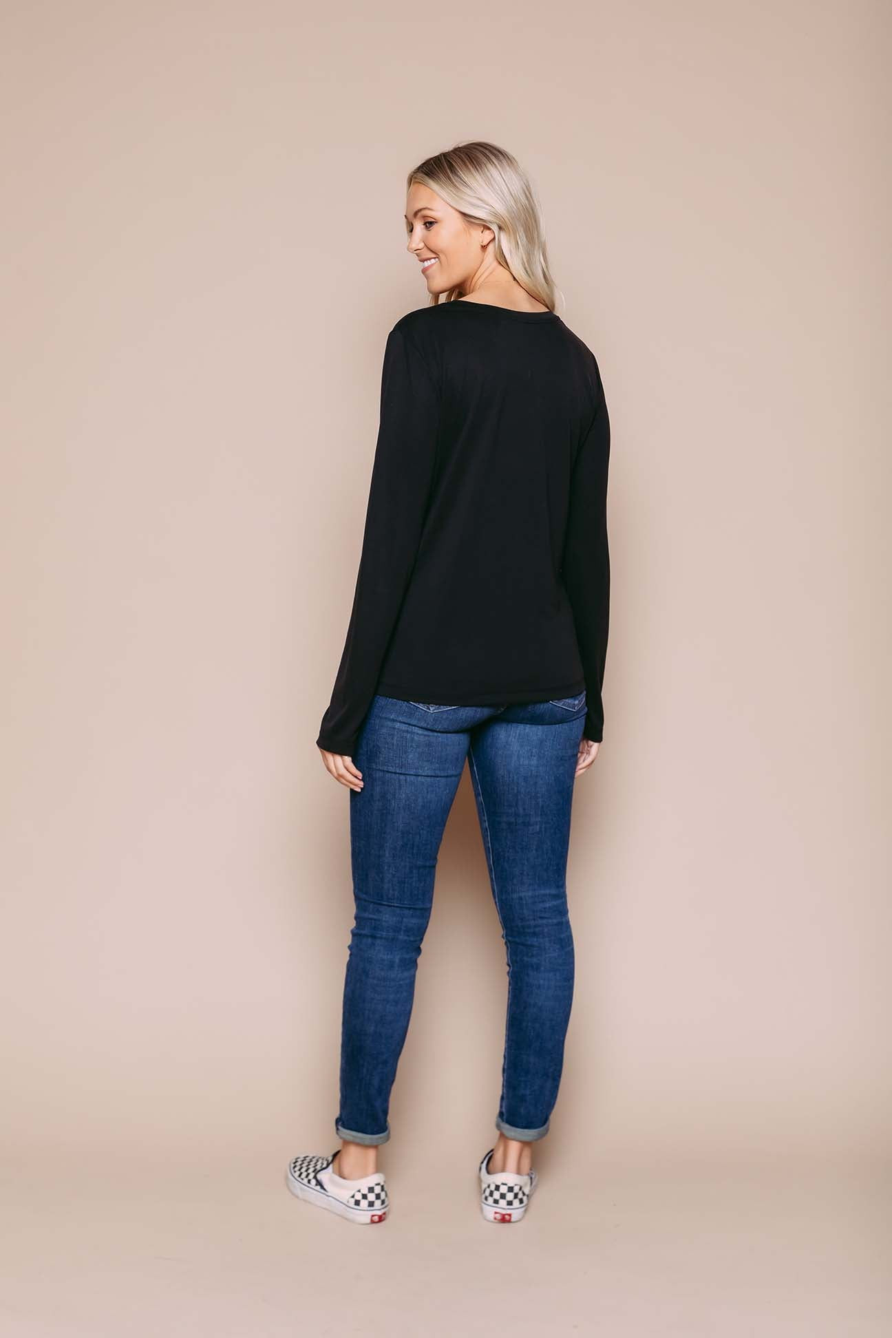 Jackie - Long Sleeve Crew Black
