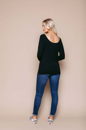Mel - Reversible Ballet Neck LS Tee Black