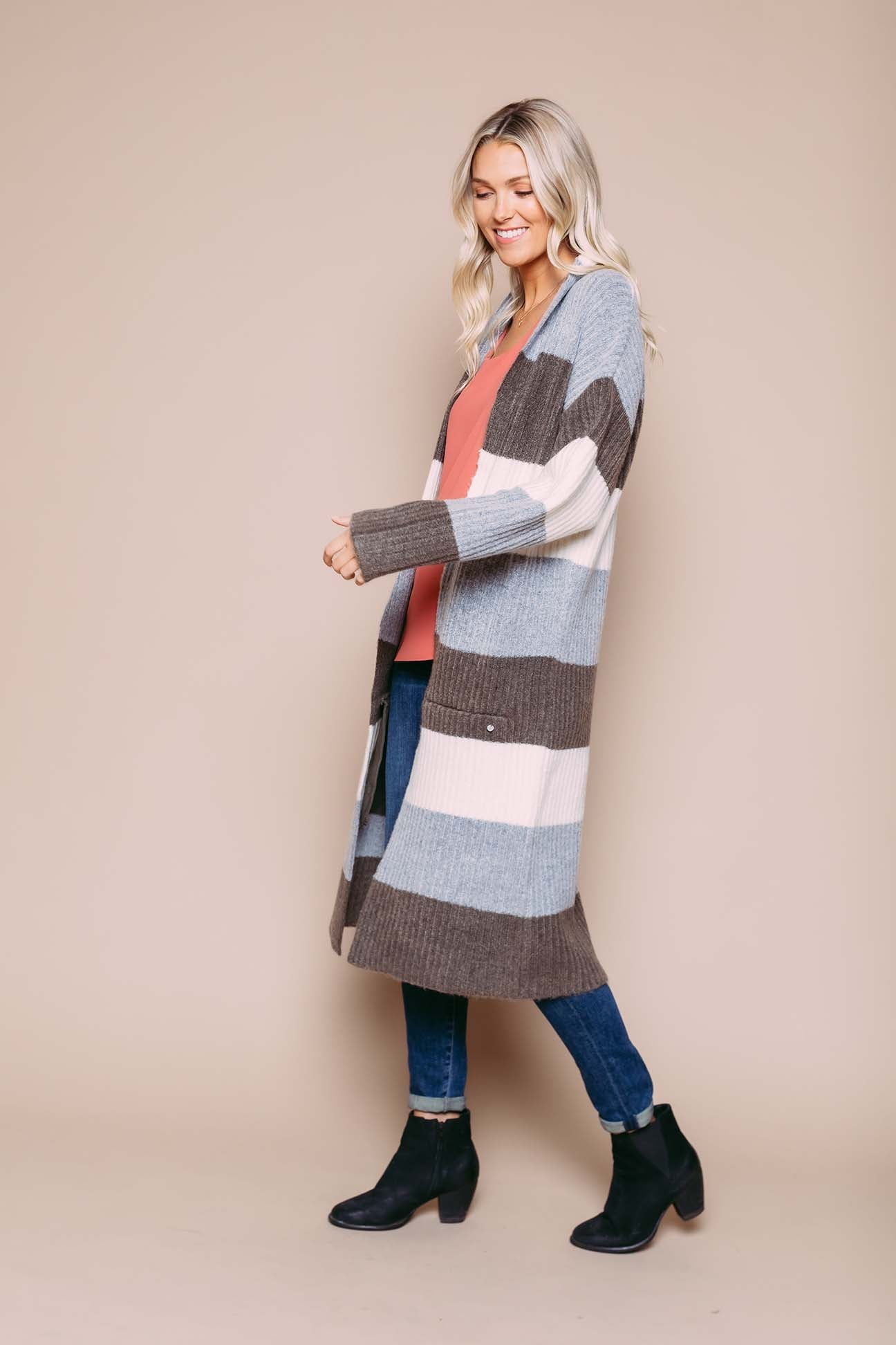 Val - Oversize Cardigan Neutral Stripe