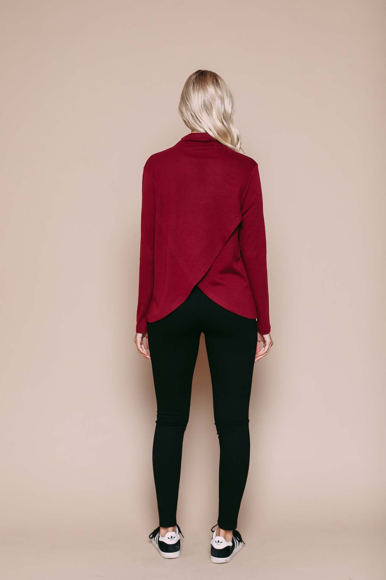 Stephie - Reversible Mock Neck Tunic Merlot