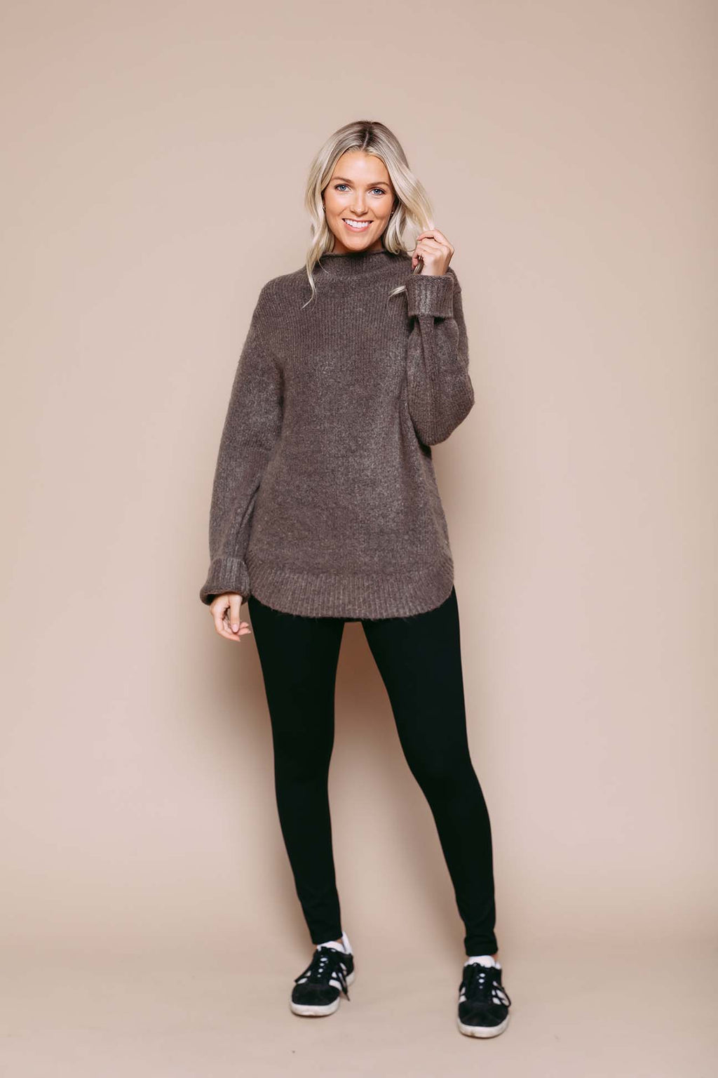Bella - Sweater Tunic Taupe Melange
